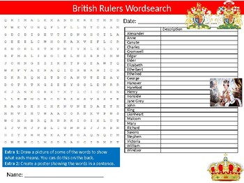 British Rulers Wordsearch Sheet Starter Activity Keywords Cover History Monarchs