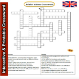 British Values Crossword