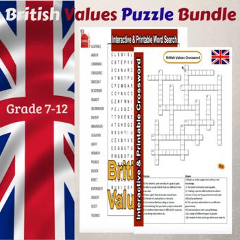 British Values Puzzles Bundle Grade 7-12