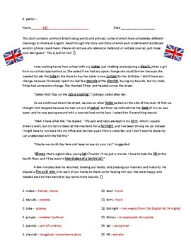 British Words and Phrases - Fun Unit Introduction