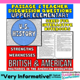 British and Continental Armies: Compare & Contrast: American Revolution Passage