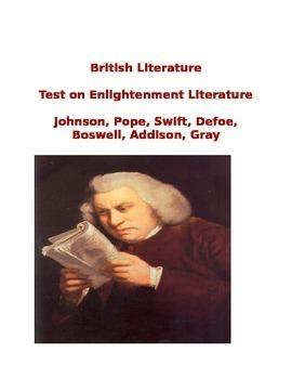 British Literature Age of Reason Literature Test  Answer Key