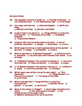 British Literature Enlightenment Literature Test  Answer Key
