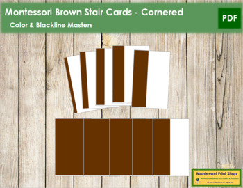Montessori Broad Stair Cards (Brown Stair) - Cornered