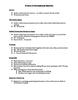 Broadcast Journalism Story Types Handout