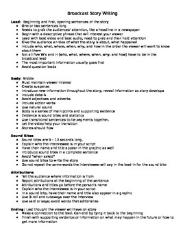 Broadcast Journalism Story Structure Writing Notes