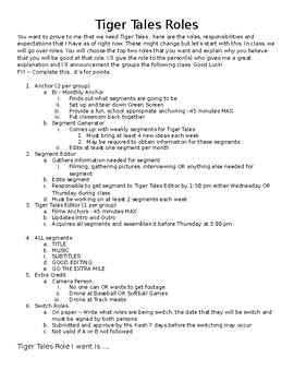 Broadcasting Roles Handout