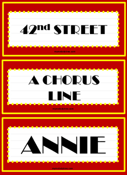 Broadway Musical Word Wall Cards