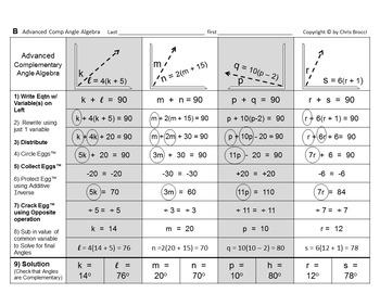 Brocci Bundles: Algebra - Solving Angles via Algebra Bundle (10 L, 29 WS)