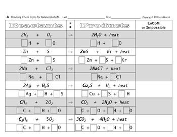Brocci Bundles: Chem - Balancing Chemical Equations & LoCoM Bundle (11 L, 36 WS)
