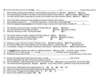 Brocci Bundles: Chem - Periodic Table Summative Assessment