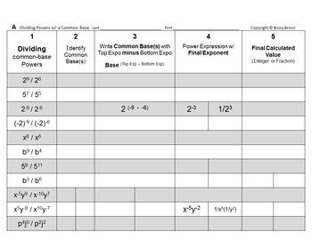 Brocci Bundles: Powers & Exponent Rules Bundle (8 L, 18 WS, 162 Probs)