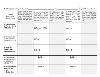 Brocci Bundles: Prices Discounts Mark-Ups Sales Tax & Simple Interest Bundle