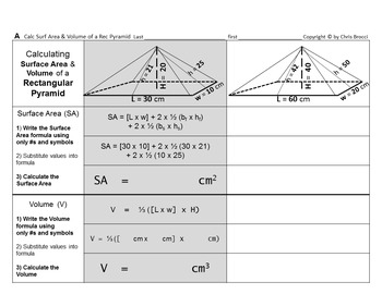 Brocci Bundles: Surface Area Volume Change Dimension Rectangular Pyramids Bundle