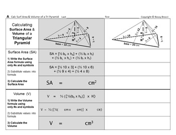 Brocci Bundles: Surface Area Volume Change Dimensions Triangular Pyramids Bundle
