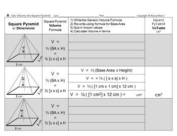 Brocci Bundle SAV07: Surface Area Volume & Changing Dimensions Square Pyramids