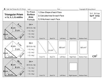 Brocci Bundle SA6: Surface Area Tri Rectangular Square PRISMS Cubes & PYRAMIDS