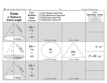 Brocci Bundles: Surface Area Volume Changing Dimensions Cones Bundle