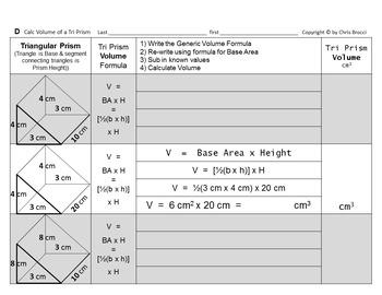 Brocci Bundle SAV10: Calculate Surface Area  Volume Common Geometric Solids MINI