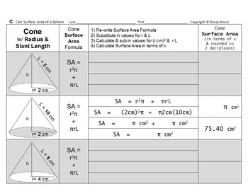Brocci Bundles: Surface Area of Spheres, Cones & Cylinders Bundle