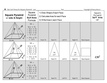 Brocci Bundle SA4: Surface Area of Tri Rectang Prisms Cubes Rect Square Pyramids