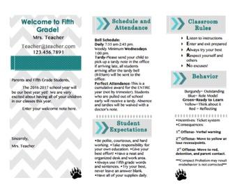 Brochure Back to School Night or Meet the Teacher