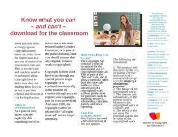 Brochure: Copyright Laws in Teaching -Nice format, use to make others brochures!