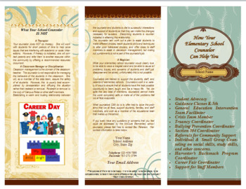 Brochure - Counselor's Job - Editable - Excellent parent Resource