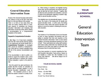 Brochure - How GEI / SIT / RTI Works - Editable - Excellent parent Resource