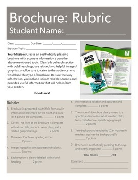 Brochure Rubric w/ Note Page