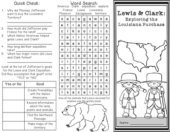 Lewis and Clark Expedition of the Louisiana Purchase Brochure with Map