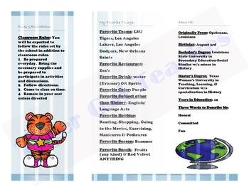 Brochure for Meet the Teacher/Open House