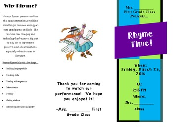 Brochure for Readers Theater, class play, or presentation