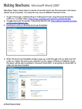 Brochures Using Word 2007/ Technology Integration