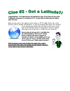 Brocky McTrig: Clue #2 Got a Latitude?! - calculating arc length using latitudes
