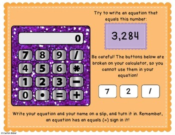 Broken Calculator Problem Solving Activity Freebie