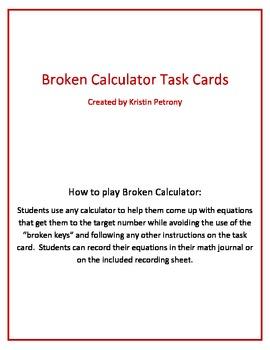 Broken Calculator Task Cards