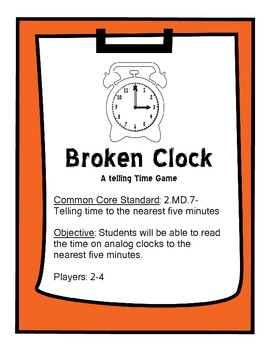 Broken Clock: A Telling Time Game (2.MD.7)