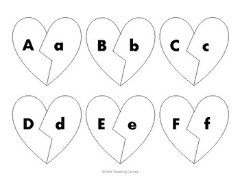 Broken Heart Alphabet Matching- White Hearts {Letter Recognition Activity}
