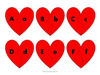 Broken Heart Alphabet Matching- Red Hearts {Letter Recognition Activity}