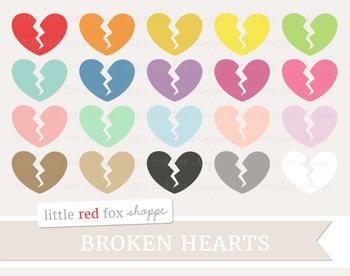 Broken Heart Clipart; Basic Shape, Valentines Day