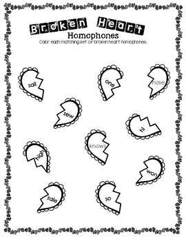 Broken Heart Homophones Worksheet