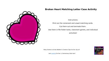 Broken Heart Letter-Case Matching Activity