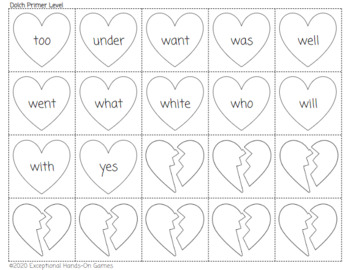 Dolch Sight Words Broken Heart Game