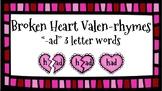 Broken Heart Valentine Valen-Rhymes Phonics Blends -AD 3 Letter Words