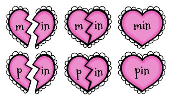 Broken Heart Valentine Valen-Rhymes Phonics Blends -IN 3 Letter Words