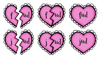 Broken Heart Valentine Valen-Rhymes Phonics Blends -UD 3 Letter Words