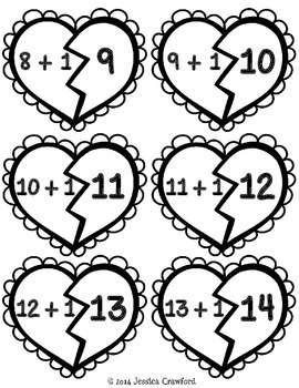Broken Hearts Addition Puzzle {+1 Sums To 20}