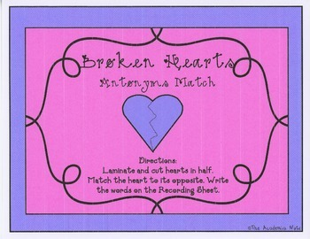 Broken Hearts Antonym Match