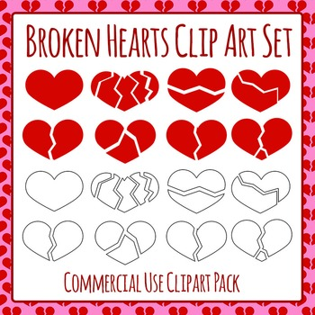 Broken Hearts Commercial Use Clip Art Set
